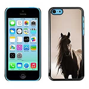 Horse Mane sepia Brown Animal Pet- Metal de aluminio y de plástico duro Caja del teléfono - Negro - iPhone 5C