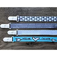 NEW DESIGN Pacifier Clip / Holder- 4 Pack | Unisex Stylish Designs | Best Universal Pacifier Holder, Teething Ring Toys holder for Boys/Girls, | Perfect Baby Shower Gift