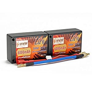 - 51FVwSwYUmL - 7.4V 6000mAh 2S Cell 100C-200C Saddle HardCase LiPo Battery Pack w/ 4mm Bullet & Deans Ultra Connector