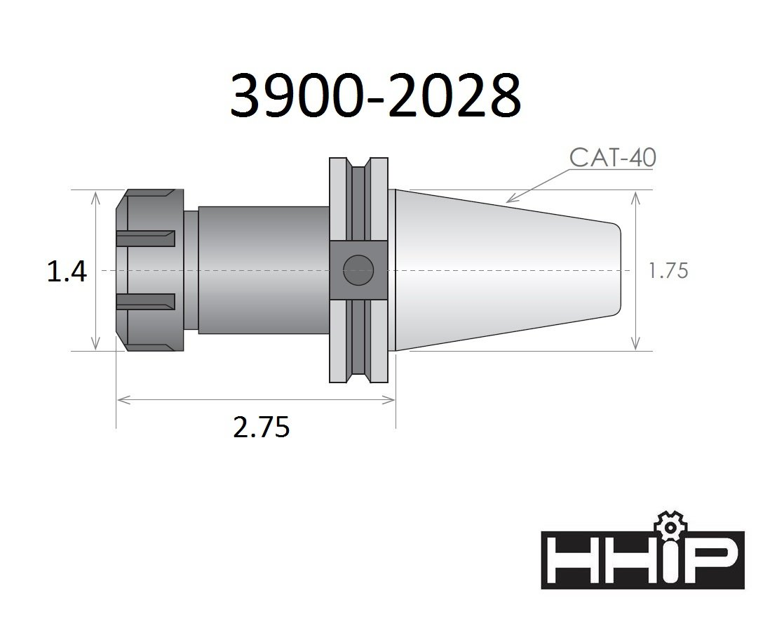 HHIP 3900-2028 V-Flange Collect Chuck with 2.75 Gage Depth, ER-20, CAT 40