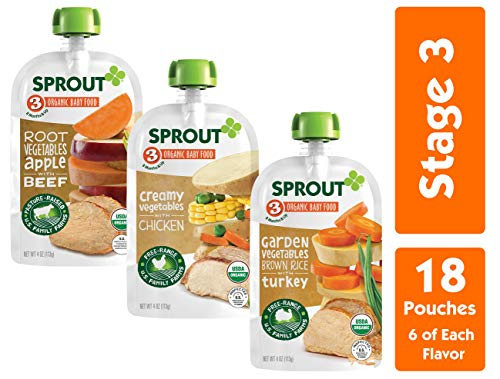 Sprout Organic Stage 3 Baby Food Pouches,