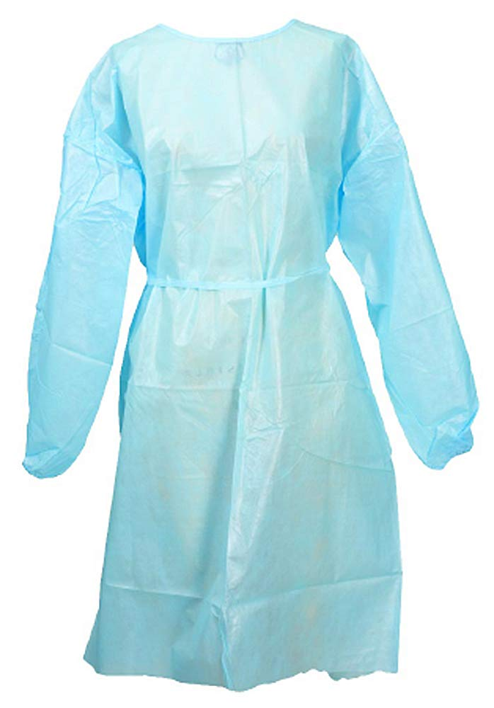 Procedure Gowns. Pack of 50 Adult Disposable Gowns. Blue Fluid-Resistant Gowns with Long sleeves, Neck and Waist ties. Non-sterile examination gowns. One size. Unisex.