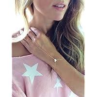 Sumanee Women Gold Finger Ring Slave Heart pendant Hand Harness Chain Bracelet Jewelry