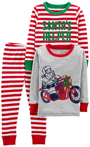 Simple Joys by Carter's Boys' Little Kid 3-Piece Snug-Fit Cotton Christmas Pajama Set, Red/White Stripe/Motorcycle, 7 (Santa Christmas Joy)