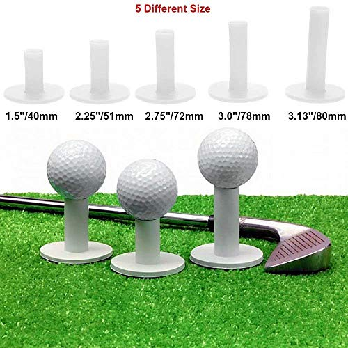 Golf Rubber Tee, 5 Pack Rubber Holder Tee Range Driving Practice Mat with Different Size 40mm/ 51mm/ 72mm/ 78mm/ - Rubber Tee Golf