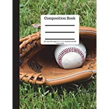 Composition Book 100 sheet/200 pages 8.5 x 11 in.-Wide Ruled Baseball and Mitt: Baseball Writing Notebook | Soft Cover