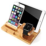 FILIWI Watch Stand Premium Bamboo Wooden 4 Ports USB Wood Charge Dock Display Holder Micro Charging Stand Charger Cradle for Android & Smartphones and Tablets