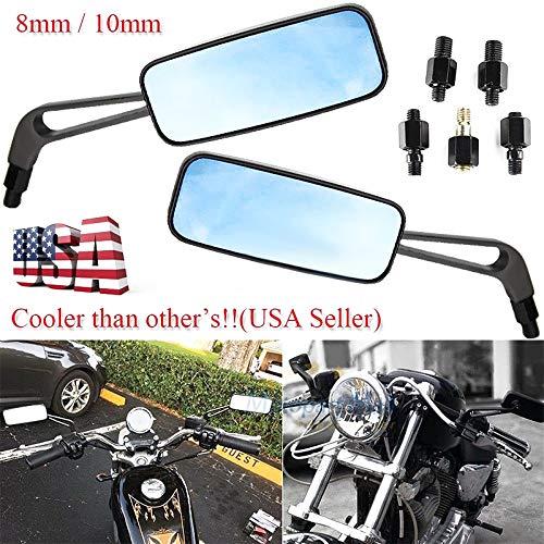 Semoic Negro Espejos Retrovisores Rectangulares De Motocicleta para Honda Suzuki Kawasaki 10 Mm