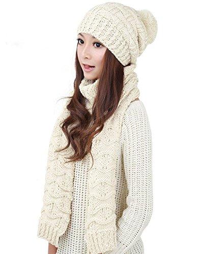 Winter Women Scarf Hat Set Knitted Skullcaps White - 4