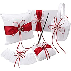 KANECH 5pcs Sets-Red Satin-Wedding Flower Girl Basket and Ring Bearer Pillow Set (Ring Pillow + Flower Girl Basket + Wedding Guest Book +Pen Set + Garter Cover)