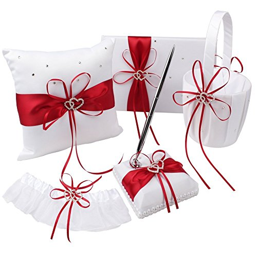 KANECH 5pcs Sets-Red Satin-Wedding Flower Girl Basket and Ring Bearer Pillow Set (Ring Pillow + Flower Girl Basket + Wedding Guest Book +Pen Set + Garter Cover) by KANECH