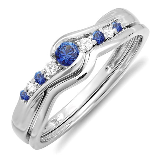 10k White Gold Blue Sapphire And White Diamond Ladies Bridal Engagement Wedding Ring Band Set (Size 6) (Bridal Sets White Gold Blue)