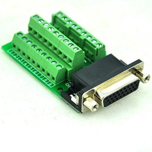 (Electronics-Salon Slim Right Angle D'SUB DB26HD Female Header Breakout Board Module, Terminal Block DSUB Connector.)
