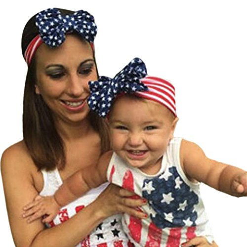 Lurryly 2Pcs Mom&Me Baby Girls 4th of July Star Stripe Elastic Hairband Headband Set (Mom:Diameter 21cm,Baby:Diameter 18.5cm, Red) ()