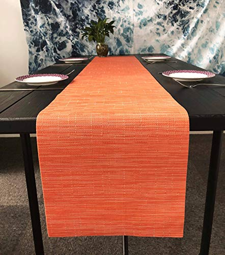 OSVINO Stylish Rectangular Multi-Color Bamboo Braided Stain Resistant Hotel Home Kitchen Dining Table Runner Mat, Orange, 1xTable Runner (Orange Table Runner)