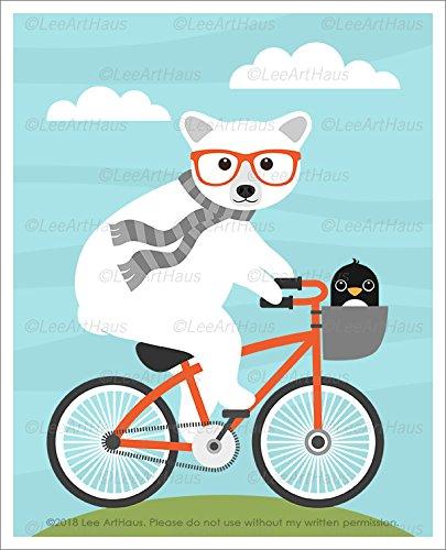 Riding Polar Bear (158A - Polar Bear and Penguin Riding Orange Bicycle UNFRAMED Wall Art Print by Lee ArtHaus)