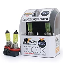 Infinra H11 55W 3000K Super Yellow Xenon Halogen Headlight Bulbs (Pack of 2)