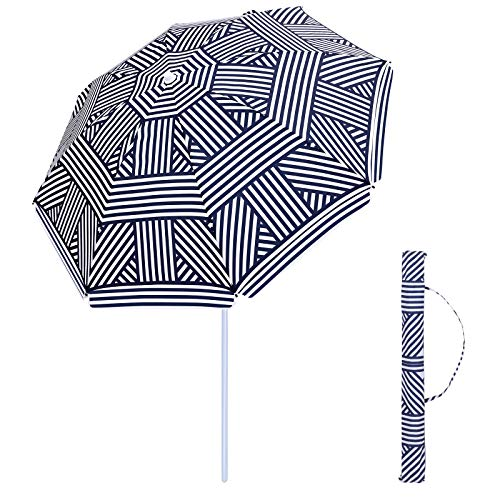 SONGMICS 6.5 ft Fiberglass Beach Umbrella, Heavy Duty Outdoor Sports Umbrella, Sun Shade with Tilt Mechanism, Carry Bag - for Beach, Gardens, Balcony and Patio, Blue and White UGPU65UW