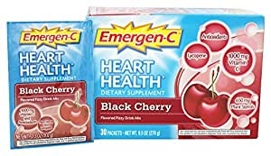 Alacer Emergen-C Heart Health Fizzy Drink Mix Black Cherry - 30 Packets