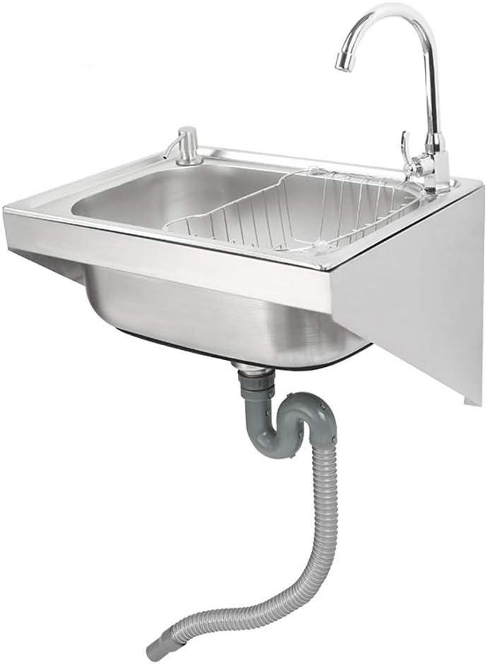 HomeLava Fregadero con pared Fregadero de cocina Fregadero simple de acero inoxidable 304 Fácil instalación Ahorro de espacio 38 * 53 * 30cm (sin grifo)
