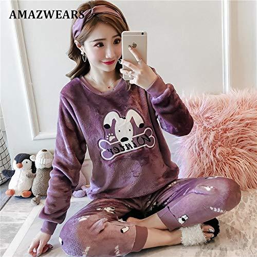 Para Redondo Pijamas Invierno Manga Ropa Dormir Purple Mujeres Cuello Cálida Mujer Larga Jylw Dog Establecen De vqHTYvd