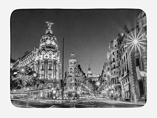 Ambesonne Black and White Bath Mat, Madrid City at Nighttime in Spain Main Street Ancient Architecture, Plush Bathroom Decor Mat with Non Slip Backing, 29.5 W X 17.5 W Inches, Black White Grey by Ambesonne