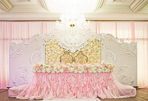AOFOTO 6x4ft Luxury Bridal Interior Backdrop for Wedding Pictures Pink Flowers Table Centrepiece Grand Banquet Hall Wedding Reception Engagement Party Scene Background Photography Studio Props]()
