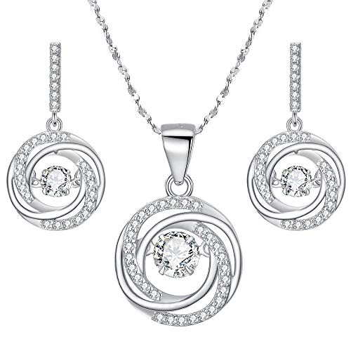 BriLove 925 Sterling Silver Necklace Earrings Set for Women Dancing CZ Round Spiral Swirl Pendant Necklace Dangle Earrings Set Clear