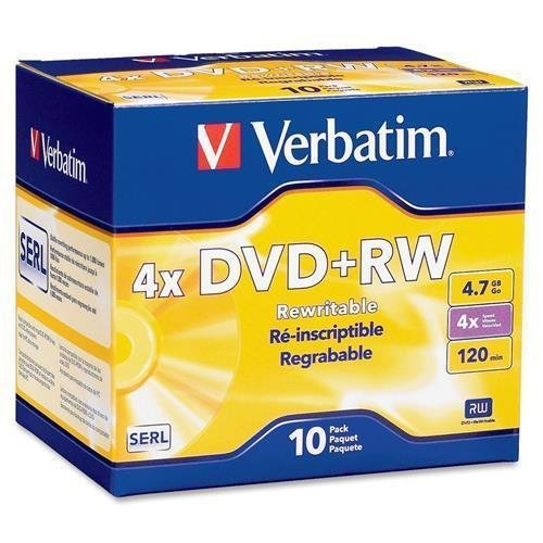 VER94839 - Verbatim DVD+RW 4.7GB 4X with Branded Surface - 10pk Jewel Case by Verbatim
