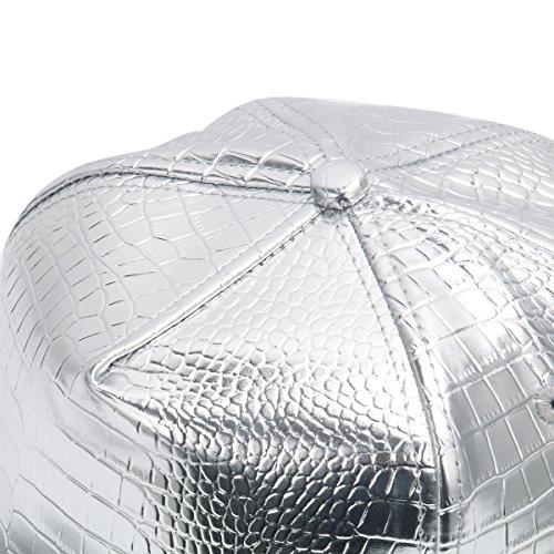 Cusfull béisbol con la Hop orra del muestra borde del Hip del estilo metal Plata de Gorra béisbol plana elemento de religiosa 7E4xEr