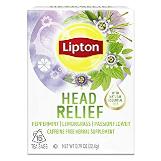 Lipton Tea Bags For A Hot or Iced Beverage with Peppermint, Lemongrass and Passion Flower Head Relief Caffeine Free Herbal Supplement 0.79 oz 15 Servings, 4 Pack
