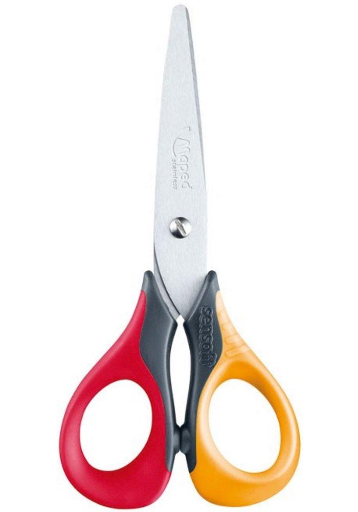 Maped Sensoft 3D Craft Scissors, Length 130mm, Left-Handed Product Red/Orange Length 130mm
