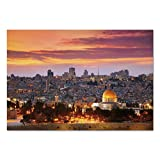excellent city wall mural Large Wall Mural Sticker [ Landscape,Ancient Old City Jerusalem Historical Religious Center Israel Twilight View Decorative,Gold Coral Lilac ] Self-adhesive Vinyl Wallpaper / Removable Modern Decorati
