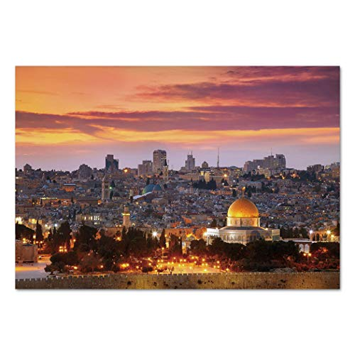 Large Wall Mural Sticker [ Landscape,Ancient Old City Jerusalem Historical Religious Center Israel Twilight View Decorative,Gold Coral Lilac ] Self-adhesive Vinyl Wallpaper / Removable Modern Decorati