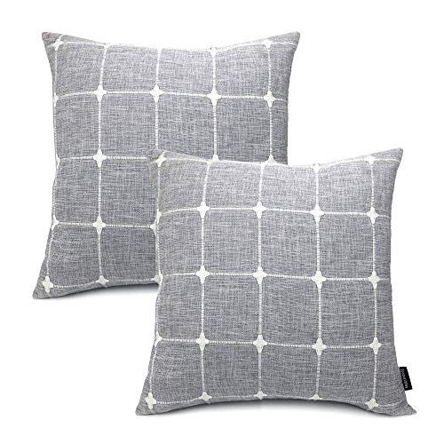 Booque Valley Plaid Pillow Covers 17 x 17 inch, Pack of 2 Soft Poly Linen Woven Texture Cushion Covers, Hand Made Check Pillow Cases for Sofa Bed Car - Pillow Decorative 17 Pillows Inch Throw