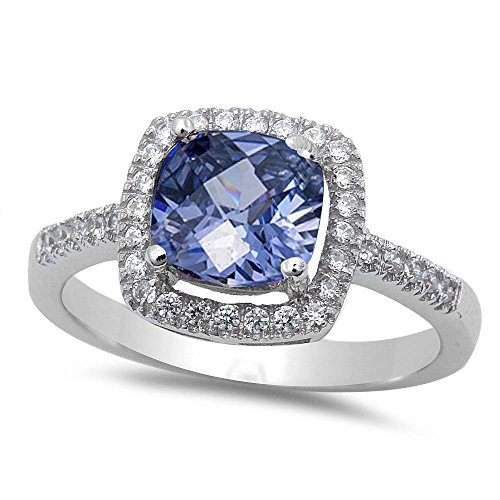 Solitaire Halo Wedding Engagement Ring Cushion Cut Simulated Blue Tanzanite Round CZ 925 Sterling Silver