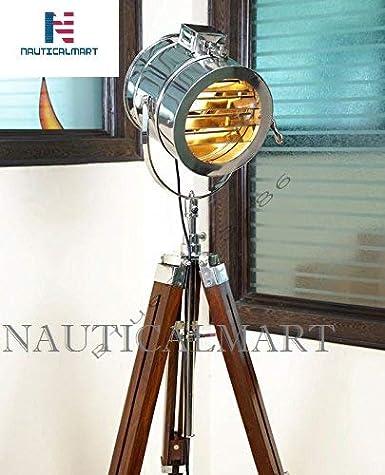 HANDMADE NAUTICAL SPOT SEARCHLIGHT TEAK TRIPOD FLOOR LAMP HOME DECOR DESIGNER