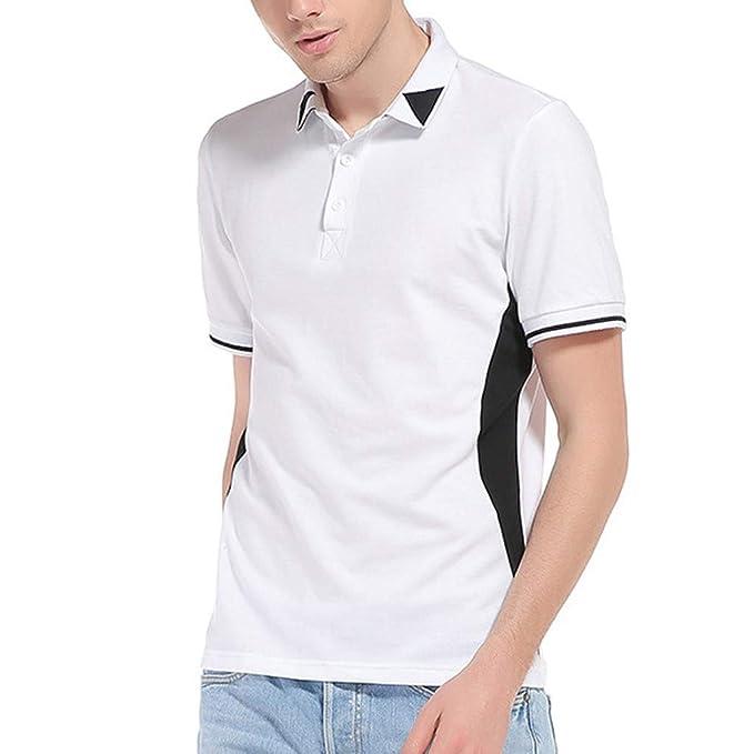 c5d0b7fd32a Camisa de Solapa para Hombre de Manga Corta Casual Moda Camisas Cuello en Contraste  Golf Tennis Básico con Botones Camisetas Gusspower  Amazon.es  Ropa y ...