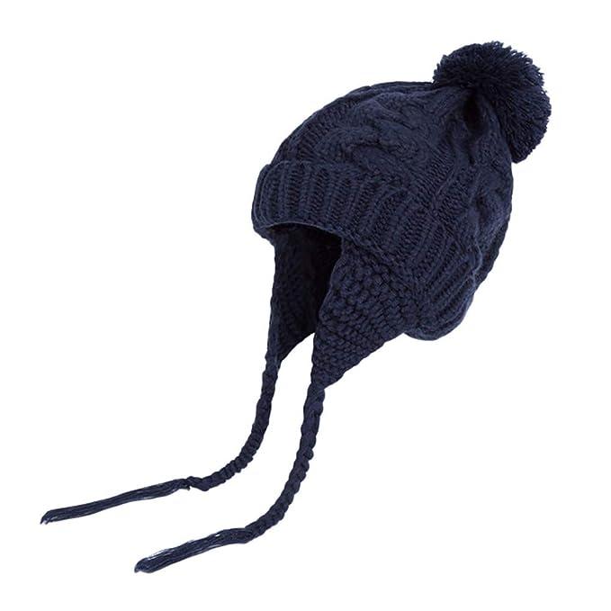 K-youth Chic Caliente Sombreros Bebé Invierno Gorras Bebé Recién Nacido Sombrero de Punto Niña Gorro de Punto Pelota de Felpa el Gorras para Niñas y Niños: ...