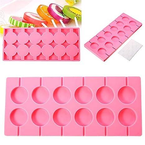 Molde redondo de silicona para piruletas, gelatina, caramelo, hielo, galletas, paleta de chocolate, molde para hornear + 100 palos de color rosa: Amazon.es: ...