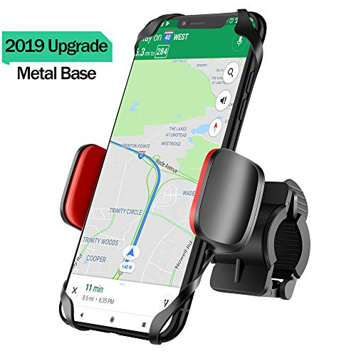 IPOW Upgrade Unbreakable Metal Base Bike Motorcycle Cell Phone Mount & Handlebar Smartphone Holder with Shock-Absorbing Padding Universal Bicycle Motorbike ATV Compatible with iPhone, Samsung, GPS etc
