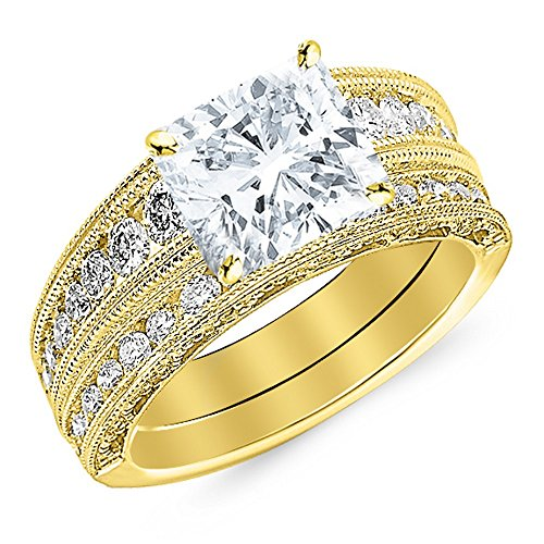 14K Yellow Gold 4 CTW Antique / Vintage Style Channel Set Round Diamond Engagement Ring with Milgrain w/ 3.4 Ct GIA Certified Cushion Cut D Color VS2 Clarity Center (3.4 Ct Round Diamond)