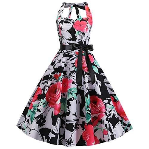 Sunhusing Elegant Ladies Retro Style Hanging Neck Backless Flower Print Waist-Tie Prom Large Swing Dress Red