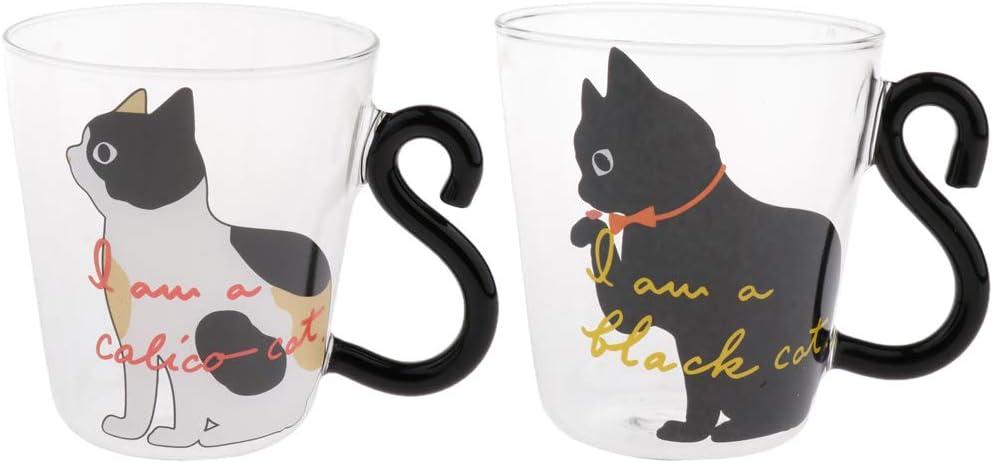 FLAMEER Tazza Da Caff/è Trasparente Da 2 Pezzi Per Bevande Calde O Fredde A Forma Di Gatto
