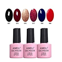 AIMEILI Soak Off UV LED Gel Nail Polish Multicolour / Mix Colour / Combo Colour Set Of 6pcs X 10ml - Kit Set 21