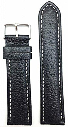 24mm-long-medium-padded-black-buffalo-shrunken-leather-white-stitches-watch-band