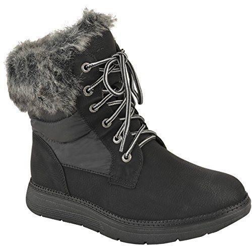 Fashion Thirsty Womens Winter Ankle Boots Warm Fur Lined Walking Comfort Lace Up Ladies Size Snow Black Faux Leather O7eYN9AuNS