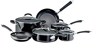 Farberware Millennium Colors Nonstick Aluminum 12-Piece Cookware Set, Black