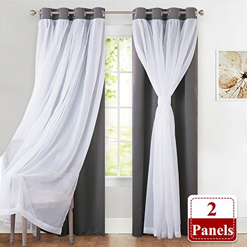 PONY DANCE Gray Blackout Curtains for Living Room - Curshed White Sheer Voile x Light Block Window Curtain Drapes Energy Efficient Mix & Match Home Decor, 52