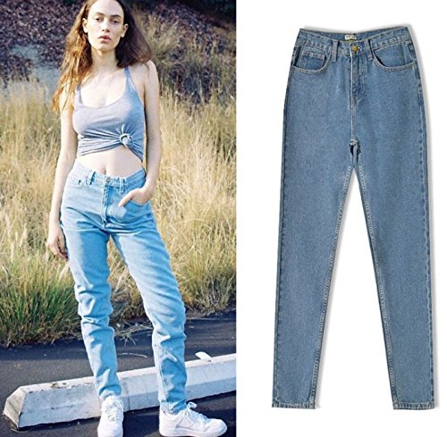 Women's Casual Cotton Loose Boyfriend Straight Leg Jeans 25(Tag) by ECHOINE (Image #2)